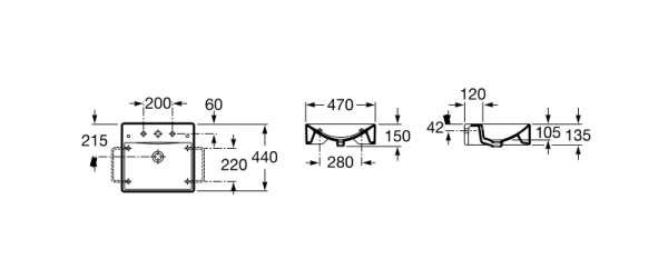 Wymiary techniczne umywalki nablatowej Diverta 47-image_Roca_A327111_3