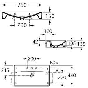 Wymiary techniczne umywalki Roca Diverta A327110000-image_Roca_A327110000_4