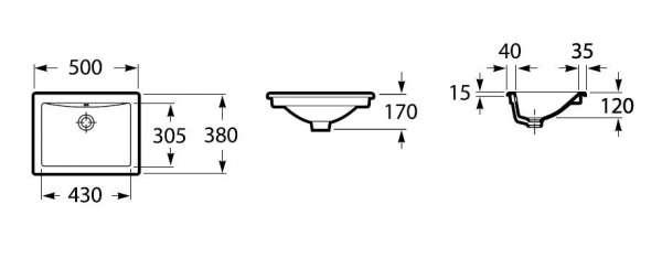 Rysunek techniczny umywalki blatowej Roca Diverta A327116000-image_Roca_A327116000_4