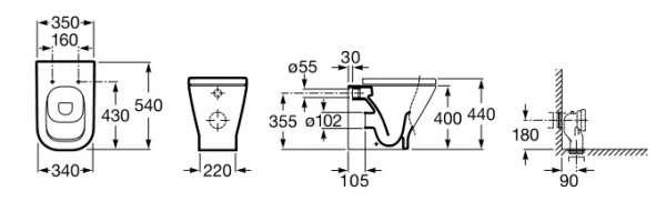 Wymiary techniczne miski stojącej Roca Gap 347477000-image_Roca_A347477000_4