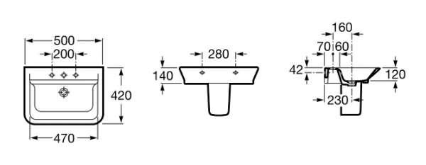 Wymiary techniczne umywalki Roca Gap 327 476 00M-image_Roca_A32747600M_3