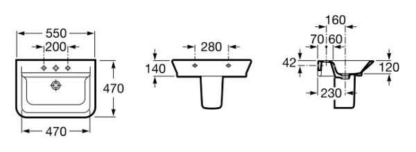 Wymiary techniczne umywalki  Roca Gap 32747500M-image_Roca_A32747500M_3