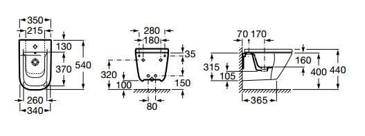 Wymiary techniczne bidetu Roca Gap z krytymi mocowaniami -image_Roca_A357476000_2