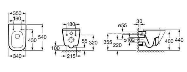 Wymiary techniczne miski podwieszanej Roca Gap 34647700M-image_Roca_A34647700M_3
