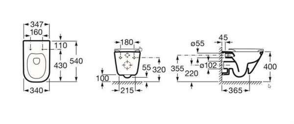 Wymiary techniczne miski wiszącej do wc Roca Gap 34647L00M-image_Roca_A34647L00M_3