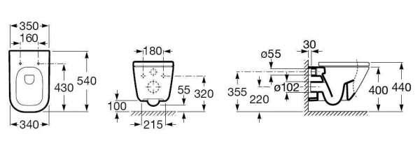 Rysunek techniczny miski wiszącej Roca Gap A346477000-image_Roca_A346477000_3