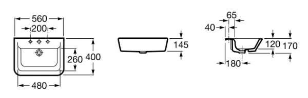 Wymiary techniczne umywalki Roca Gap 32747S000-image_Roca_A32747S000_3