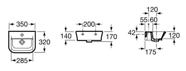 Wymiary techniczne umywalki Roca  Gap 32747900M-image_Roca_A32747900M_3