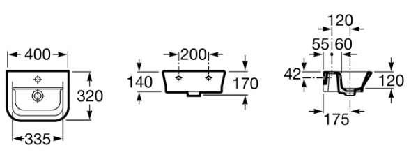 Wymiary techniczne umywalki Roca Gap 327478-image_Roca_A327478000_3