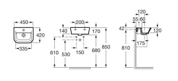 Wymiary techniczne umywalki Roca Gap 327 477 000-image_Roca_A327477000_3