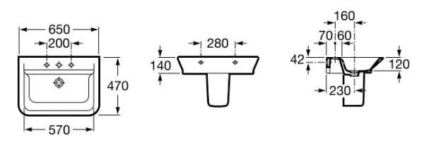 Wymiary techniczne umywalki Roca Gap A327473000 -image_Roca_A327473000_3