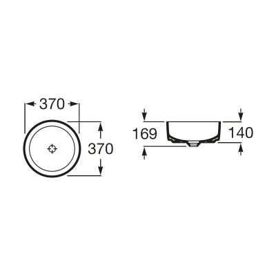 Wymiary techniczne nablatowej umywalki Roca Inspira Round -image_Roca_A801462004_2