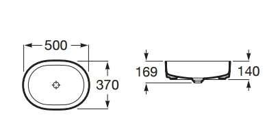 Wymiary techniczne umywalki Roca Inspira Round A32754 000-image_Roca_A327520000_3