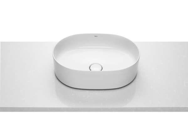 Umywalka o zaokrąglonych kształtach roca inspira round w rozmiarze 50cm stawiana na blat-image_Roca_A327520000_4