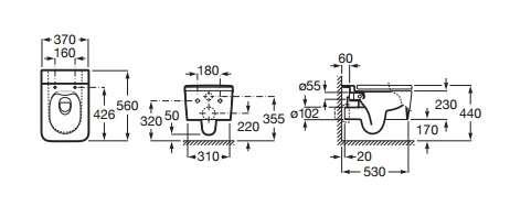 Wymiary techniczne miski wc Inspira Square 346537000-image_Roca_A346537000_4