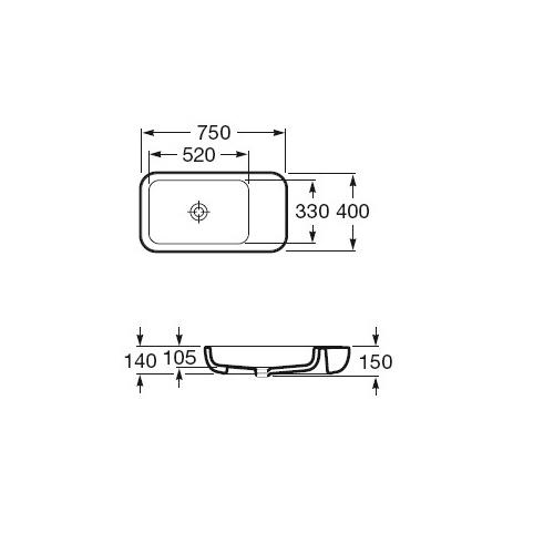 Wymiary techniczne umywalki nablatowej Roca Khroma-image_Roca_A327655000_2