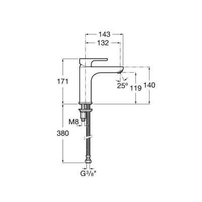 Wymiary techniczne baterii umywalkowej L20-image_Roca_A5A3B09C00_3