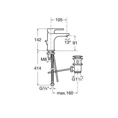 Rysunek techniczny baterii umywalkowej L20-image_Roca_A5A3I09C00_3