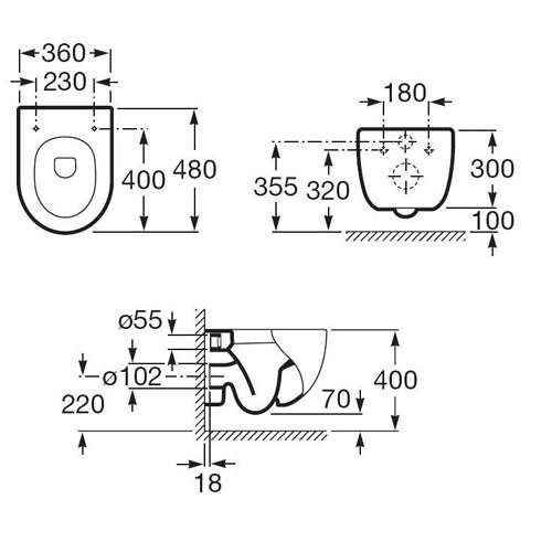 Wymiary techniczne miski wiszącej Roca Meridian N Compacto A346248000-image_Roca_A346248000_4