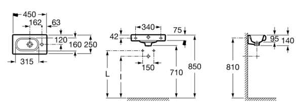 Wymiary techniczne umywalki Roca Meridian N Compacto A327248000-image_Roca_A327248000_3