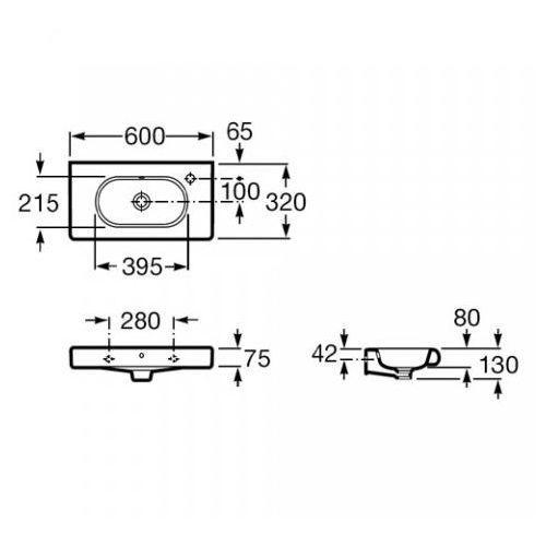 Wymiary techniczne umywalki Roca Meridian N Compacto A32724T000 -image_Roca_A32724T000_2