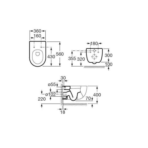 Wymiary techniczne długiej miski podwieszanej Roca Meridian N A346247000-image_Roca_A346247000_4