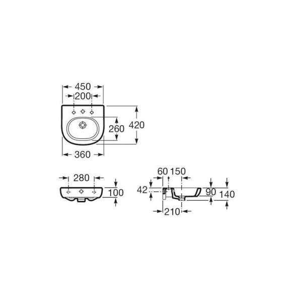 Wymiary techniczne umywalki Roca Meridian N-image_Roca_A32724500_3