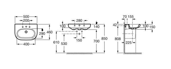 Wymiary techniczne umywalki ściennej Roca Meridian A327244000-image_Roca_A327244000_3