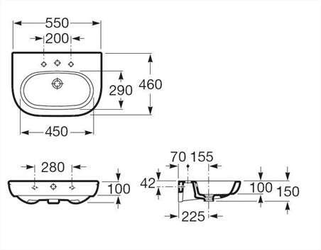 Wymiary techniczne umywalki Roca Meridian N 327243000-image_Roca_A327243000_3