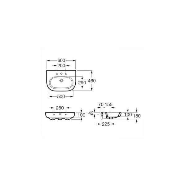 Wymiary techniczne umywalki Roca Meridian N A327242000-image_Roca_A327242000_3