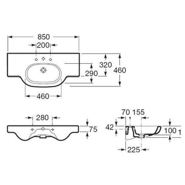 Wymiary techniczne umywalki z blatem Roca Meridian N 32724D000-image_Roca_A32724D000_3