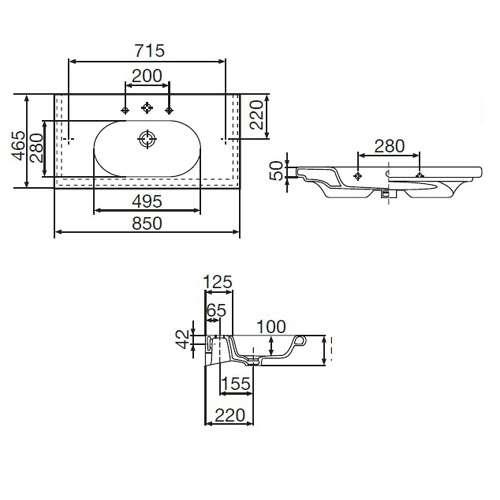 Wymiary techniczne  umywalki Roca Meridian 32724M000-image_Roca_A32724M000_3