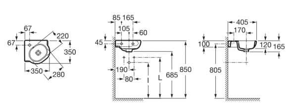 Wymiary techniczne umywalki narożnej Roca Meridian N-image_Roca_A32724C000_3
