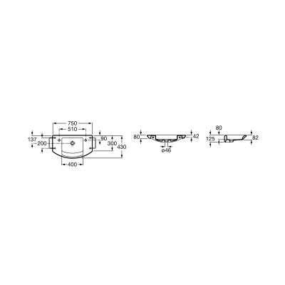 Wymiary techniczny umywalki ceramicznej Roca Mohave -image_Roca_A32788900H_3