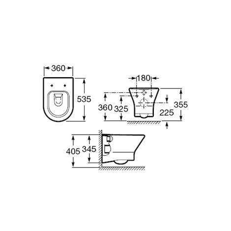 Wymiary techniczne miski  podwieszanej Roca Nexo A346640000-image_Roca_A346640000_4