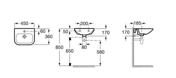 Wymiary techniczne umywalki Nexo 327643000-image_Roca_A327643000_3