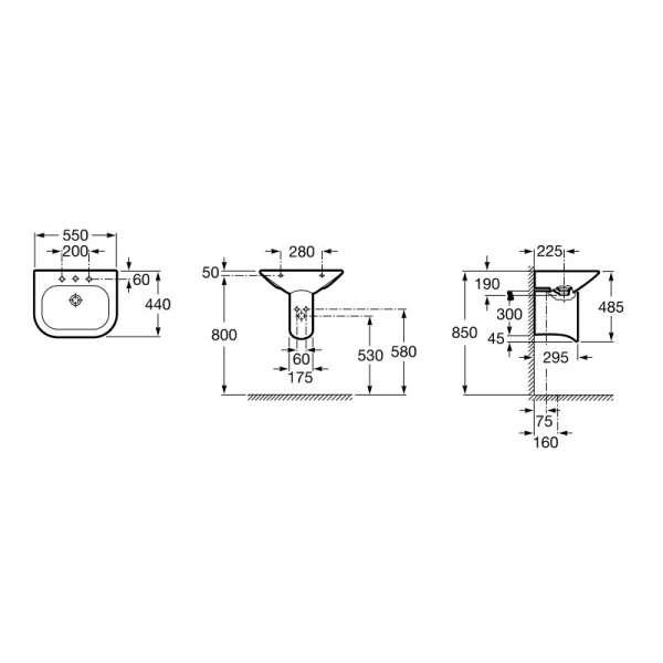 Rysunek techniczny umywalki Nexo A327642000-image_Roca_A327642000_3
