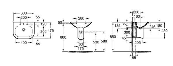 Rysunek z wymiarami technicznymi umywalki Nexo 327641000-image_Roca_A327641000_3