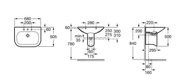 Wymiary techniczne umywalki Nexo 32764000-image_Roca_A32764000_3
