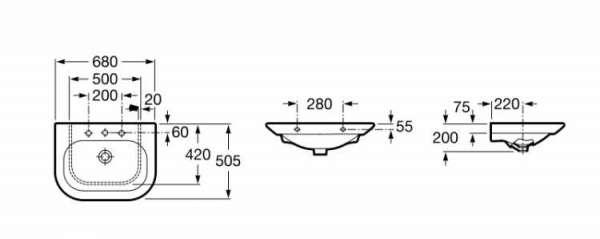Wymiary umywalki meblowej Roca Nexo 327644000-image_Roca_A327644000_4