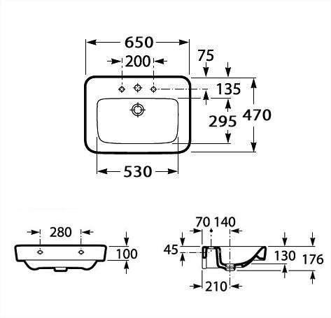 Wymiary techniczne umywalki ściennej Roca Sesno Square A32751A000-image_Roca_A32751A000_3
