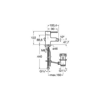 Wymiary techniczne baterii bidetowej Targa-image_Roca_A5A6060C00_3