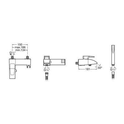 Wymiary techniczne baterii wannowej Thesis-image_Roca_A5A0150C00_3