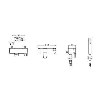 Wymiary techne baterii natryskowej Thesis-image_Roca_A5A2050C00_3
