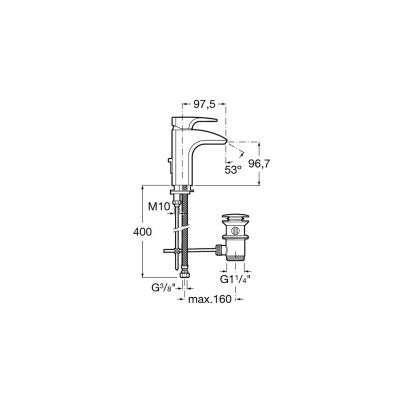 Wymiary techniczne baterii umywalkowej Thesis-image_Roca_A5A3050C00_4