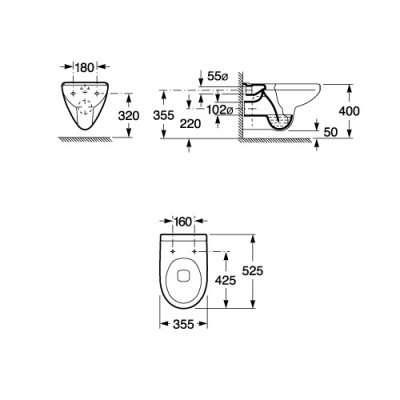 Wymiary techniczne miski wiszacej Roca Victoria A346303007-image_Roca_A346303007_4