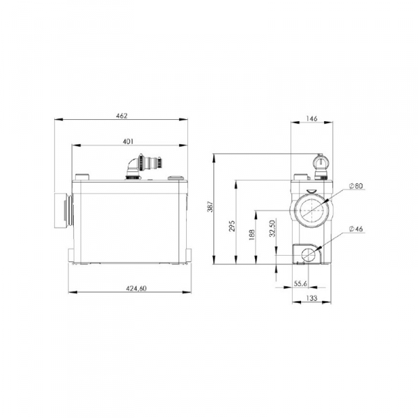 Wymiary techniczne pompy Sanipack Plus-image_SFA_SFA SANIPACK PLUS_2