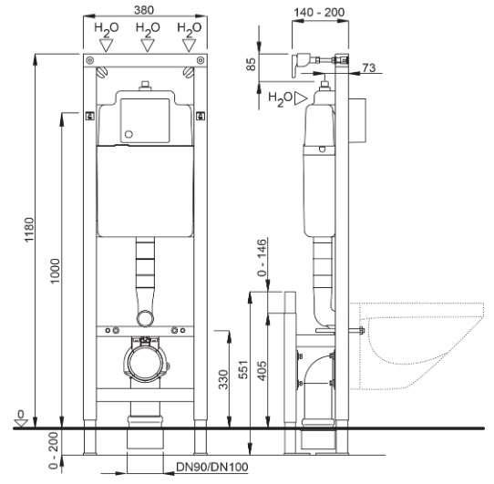 Wymiary techniczne stelaża podtynkowego Schwab Duplo 4060452731 -image_Koło_L51151000 _1