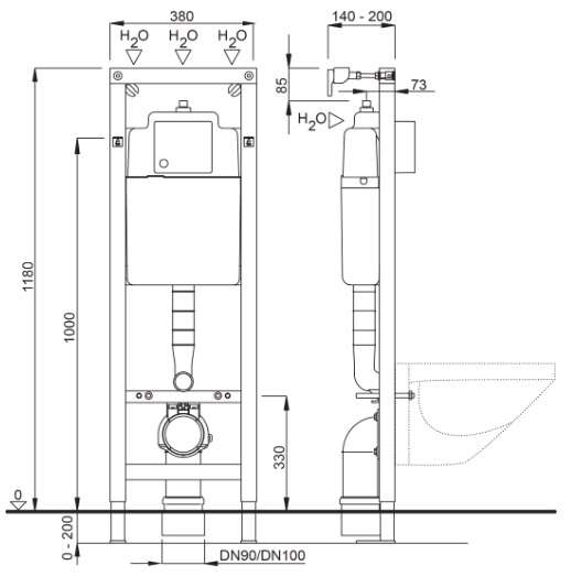 Wymiary techniczne stelażą podtynkowego Schwab Duplo -image_Schwab_4060452701_2