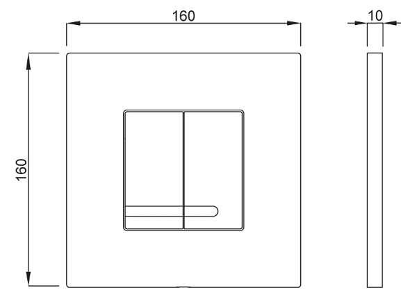 Wymiary techniczne przycisku Schwab Arte Duo 4060414031 -image_Roca_810026Z00R001_1